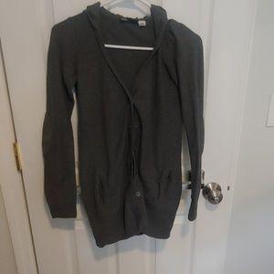 Sweaters - Long Gray cardigan with hood